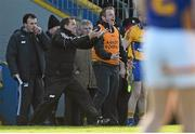 8 March 2015; The Clare management team, including manager Davy Fitzgerald, centre, alongside selectors Louis Mulqueen, left, and Seoirse Bulfin, right, react during the game. Allianz Hurling League, Division 1A, Round 3, Clare v Tipperary. Cusack Park, Ennis, Co. Clare. Picture credit: Diarmuid Greene / SPORTSFILE