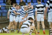 8 March 2015; Adam Thompson, second from left with mouthguard, Blackrock College, and teammates celebrare after Thompson scored the winning try in the final minute. Bank of Ireland Leinster Schools Junior Cup, Semi-Final, Belvedere College v Blackrock College, Donnybrook Stadium, Donnybrook, Dublin. Picture credit: Cody Glenn / SPORTSFILE