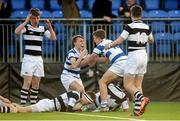 8 March 2015; Adam Thompson, Blackrock College, is greeted by teammate Liam Turner after scoring the winning try in the final minute. Bank of Ireland Leinster Schools Junior Cup, Semi-Final, Belvedere College v Blackrock College, Donnybrook Stadium, Donnybrook, Dublin. Picture credit: Cody Glenn / SPORTSFILE