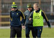 8 March 2015; A disappointed Rory Gallagher, Donegal manager, left, Jack Cooney, centre, and Gary McDaid, right, selectors leave the pitch after the game Allianz Football League, Division 1, Round 4, Donegal v Monaghan, O'Donnell Park, Letterkenny, Co. Donegal. Picture credit: Oliver McVeigh / SPORTSFILE