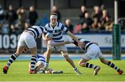 8 March 2015; Ted Godson-Treacy, Blackrock College, is tackled by Johnny Bell, left, and Ted Walsh, Belvedere College. Bank of Ireland Leinster Schools Junior Cup, Semi-Final, Belvedere College v Blackrock College, Donnybrook Stadium, Donnybrook, Dublin. Picture credit: Cody Glenn / SPORTSFILE
