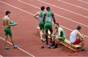 8 March 2015; Ireland 4x400m Relay team members, from left, Timmy Crowe, Harry Purcell, Brandon Arrey and Dara Kervick after the Men's 4x400m Relay Final event, where they finished in 6th position with a time of 3:10.61. European Indoor Athletics Championships 2015, Day 4, Prague, Czech Republic. Picture credit: Pat Murphy / SPORTSFILE