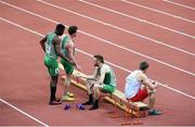 8 March 2015; Ireland 4x400m Relay team members, from left, Harry Purcell, Brandon Arrey and Dara Kervick after the Men's 4x400m Relay Final event, where they finished in 6th position with a time of 3:10.61. European Indoor Athletics Championships 2015, Day 4, Prague, Czech Republic. Picture credit: Pat Murphy / SPORTSFILE