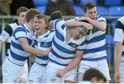 8 March 2015; Adam Thompson, second from left with mouthguard, Blackrock College, and teammates, left to right, Liam Turner, Giuseppe Coyne and Niall Brady celebrare after Thompson scored the winning try in the final minute. Bank of Ireland Leinster Schools Junior Cup, Semi-Final, Belvedere College v Blackrock College, Donnybrook Stadium, Donnybrook, Dublin. Picture credit: Cody Glenn / SPORTSFILE