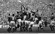 5 March 1988; Willie Anderson, Ireland, contests a lineout with Philip May, Wales. Five Nations Rugby Championship, Ireland v Wales, Lansdowne Road, Dublin. Picture credit: Ray McManus / SPORTSFILE