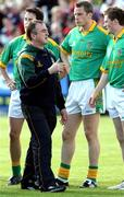 7 July 2007; Meath manager Colm Coyle speaks to his players before the game. Bank of Ireland All-Ireland Senior Football Championship Qualifier, Round 1, Down v Meath, Pairc Esler, Newry, Co. Down. Picture credit: Oliver McVeigh / SPORTSFILE