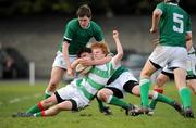 27 February 2008; Chris Lilly, St. Columba's, is tackled by Jack Whelan, left, and Nicholas Rutledge, Gonzaga. Leinster Schools Vinnie Murray Cup Senior Semi-Final, St. Columba's v Gonzaga. Anglesea Road, Dublin. Picture credit; Caroline Quinn / SPORTSFILE