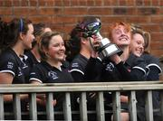 29 February 2008; Loreto Beaufort captain Aisling Campion and team-mates with the cup. Leinster Hockey Senior Cup Final, Alexandra College v Loreto Beaufort, Grange Road, Rathfarnham, Co.Dublin. Picture credit: Brian Lawless / SPORTSFILE