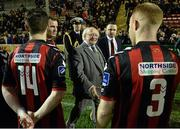 13 March 2015; The President of Ireland Michael D. Higgins meets members of the Bohemians team before the game. SSE Airtricity League Premier Division, Bohemians v Galway United, Dalymount Park, Dublin. Picture credit: David Maher / SPORTSFILE