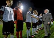 13 March 2015; The President of Ireland Michael D. Higgins meets members of the Galway United team before the game. SSE Airtricity League Premier Division, Bohemians v Galway United, Dalymount Park, Dublin. Picture credit: David Maher / SPORTSFILE