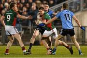 14 March 2015; Lee Keegan, Mayo, supported by team-mate Donal Vaughan, 9, in action against Diarmuid Connolly and Dean Rock,11, Dublin. Allianz Football League Division 1 Round 5, Mayo v Dublin. Elverys MacHale Park, Castlebar, Co. Mayo. Picture credit: Piaras Ó Mídheach / SPORTSFILE