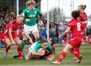 15 March 2015; Hannah Tyrrell, Ireland, is tackled by Gemma Rowland, Wales. Women's Six Nations Rugby Championship, Wales v Ireland,St Helen's, Swansea, Wales. Picture credit: Steve Pope / SPORTSFILE