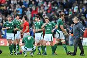 8 March 2008; Ireland players, from left, Denis Leamy, Shane Horgan, Jamie Heaslip, David Wallace, Ronan O'Gara, and Donncha O'Callaghan, after defeat to Wales. RBS Six Nations Rugby Championship, Ireland v Wales, Croke Park, Dublin. Picture credit: Brian Lawless / SPORTSFILE