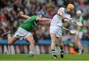 17 March 2015; James Cha Fitzpatrick, Ballyhale Shamrocks, in action against Gavin O'Mahony, Kilmallock. AIB GAA Hurling All-Ireland Senior Club Championship Final, Ballyhale Shamrocks v Kilmallock, Croke Park, Dublin. Picture credit: Piaras Ó Mídheach / SPORTSFILE