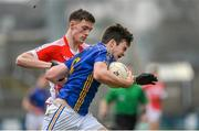 17 March 2015; Thomas Galligan. St Patrick's Cavan, in action against Brian Kennedy, St Patrick's Academy, Dungannon. Danske Bank MacRory Cup Final, St Patrick's Cavan v St Patrick's Academy, Dungannon, Athletic Grounds, Armagh. Picture credit: Oliver McVeigh / SPORTSFILE