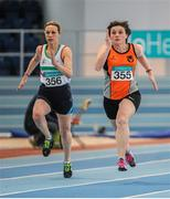 15 March 2015; Therese O'Brien, left, Limerick AC, and Emma Smith, Orangegrove AC, East Belfast, in action during the Women's W40 60m, during the GloHealth National Masters Indoor Track and Field Championships. Athlone International Arena, Athlone, Co. Westmeath. Picture credit: Tomás Greally / SPORTSFILE