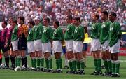 18 June 1994; The Republic of Ireland team, from left, Andy Townsend, Packie Bonner, Ray Houghton, Steve Staunton, John Sheridan, Terry Phelan, Roy Keane, Denis Irwin, Tommy Coyne, Paul McGrath and Phil Babb, ahead of the FIFA World Cup 1994 Group E match between Republic of Ireland and Italy at Giants Stadium in New Jersey, USA. Photo by Ray McManus/Sportsfile