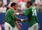 18 June 1994; Phil Babb of Republic of Ireland with Paul McGrath, left, during the FIFA World Cup 1994 Group E match between Republic of Ireland and Italy at Giants Stadium in New Jersey, USA. Photo by Ray McManus/Sportsfile