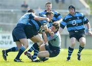 1 May 2004; Andrew Thompson of Shannon is tackled by Greg Mitchell, right, and Ajay Derwin of Belfast Harlequins during the AIB All-Ireland League Division 1 Semi-Final match between Shannon and Belfast Harlequins at Thomond Park in Limerick. Photo by Sportsfile