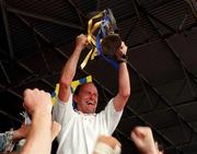 9 July 1995; Clare manager Ger Loughnane celebrates with the cup following the Guinness Munster Senior Hurling Championship Final between Clare and Limerick at Semple Stadium in Thurles, Tipperary. Photo by Matt Browne/Sportsfile