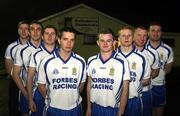13 March 2008; Ballinderry Shamrocks GAC, Co. Derry, has taken the decision to support the principle of the Irish Government recognising the contribution that their 8 club representatives make to their club, their county, and their country by excelling as gaelic footballers. The players themselves have voluntarily offered to donate a proportion of any award to the Club's Adult Players fund which supports the costs of the team, medical and physio expenses for the 70 adult players in the club. Pictured are the players, from left, Enda Muldoon, Kevin McGuckin, Conleath Gilligan, Raymond Wilkinson, Colin Devlin, Niall McCusker and James Conway. Ballinderry GAA club, Ballinderry, Co. Derry. Picture credit: Oliver McVeigh / SPORTSFILE