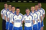 13 March 2008; Ballinderry Shamrocks GAC, Co. Derry, has taken the decision to support the principle of the Irish Government recognising the contribution that their 8 club representatives make to their club, their county, and their country by excelling as gaelic footballers. The players themselves have voluntarily offered to donate a proportion of any award to the Club's Adult Players fund which supports the costs of the team, medical and physio expenses for the 70 adult players in the club. Pictured are the players, from left, Enda Muldoon, Kevin McGuckin, Conleath Gilligan, Michael McIver, Raymond Wilkinson, Colin Devlin, Niall McCusker and James Conway. Ballinderry GAA club, Ballinderry, Co. Derry. Picture credit: Oliver McVeigh / SPORTSFILE