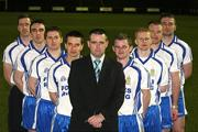 13 March 2008; Ballinderry Shamrocks GAC, Co. Derry, has taken the decision to support the principle of the Irish Government recognising the contribution that their 8 club representatives make to their club, their county, and their country by excelling as gaelic footballers. The players themselves have voluntarily offered to donate a proportion of any award to the Club's Adult Players fund which supports the costs of the team, medical and physio expenses for the 70 adult players in the club. Pictured are the players l-r Enda Muldoon, Kevin McGuckin, Conleath Gilligan, Michael McIver, Camillius Quinn, Ballinderry Shamrocks GAC Club Chairman, Raymond Wilkinson, Colin Devlin, Niall McCusker and James Conway. Ballinderry GAA club, Ballinderry, Co. Derry. Picture credit: Oliver McVeigh / SPORTSFILE