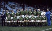 "15 January 1983; The Ireland Rugby team that won a share of The 1983 Five Nations Championship with France. Back row, from left, Fergus Slattery, Phil Orr, John O'Driscoll, Donal Lenihan, Moss Keane, Willie Duggan, Hugo MacNeill and Gerry ""Ginger"" McLaughlin. Bottom, l to r, Trevor Ringland, David Irwin, Michael Kiernan, Ciaran Fitzgerald, Moss Finn, Ollie Campbell and Robbie McGrath. Murrayfield, Scotland. Picture credit: SPORTSFILE"