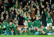 23 February 2008; Ireland players, from right, Eoin Reddan, Jamie Heaslip, Ronan O'Gara, John Hayes and captain Brian O'Driscoll celebrate as Andrew Trimble scored their side's fifth try. RBS Six Nations Rugby Championship, Ireland v Scotland, Croke Park, Dublin. Picture credit; Brendan Moran / SPORTSFILE