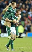 14 March 2009; Ireland players Luke Fitzgerald, top, and try scorer Jamie Heaslip celebrate at the final whistle after victory over Scotland. RBS Six Nations Championship, Scotland v Ireland, Murrayfield Stadium, Edinburgh, Scotland. Picture credit: Pat Murphy / SPORTSFILE