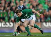 20 March 2010; Ireland captain Brian O'Driscoll scores the opening try of the game. RBS Six Nations Rugby Championship, Ireland v Scotland, Croke Park, Dublin. Picture credit: Stephen McCarthy / SPORTSFILE