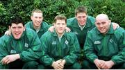 15 February 2000; The five new Ireland caps for the Scotland game, from left, Shane Horgan, Peter Stringer, Simon Easterby, Ronan O'Gara and John Hayes. Ireland Rugby Squad Training. Dr. Hickey Park, Greystones, Co. Wicklow. Picture credit: Matt Browne / SPORTSFILE