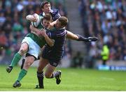 22 September 2001; Brian O'Driscoll, Ireland, is tackled by John Leslie and James McLaren, Scotland. Scotland v Ireland, Six Nations Rugby Championship, Murrayfield, Edinburgh, Scotland. Picture credit: Matt Browne / SPORTSFILE
