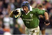 16 February 2003; David Humphreys, Ireland, goes over to score his try against Scotland. RBS Six Nations Rugby Championship, Scotland v Ireland, Murrayfield Stadium, Edinburgh, Scotland. Picture credit; Brendan Moran / SPORTSFILE