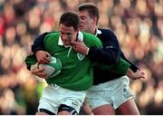 7 February 1998; David Humphreys, Ireland, in action against Craig Chalmers, Scotland. Ireland v Scotland, Five Nations Rugby Championship. Lansdowne Road, Dublin. Picture credit: Brendan Moran / SPORTSFILE