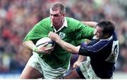 20 March 1999; Victor Costello, Ireland, is tackled by Martin Leslie, Scotland. Five Nations Rugby Championship, Scotland v Ireland, Murrayfield, Edinburgh, Scotland. Picture credit: Matt Browne / SPORTSFILE