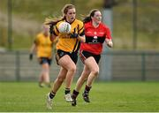 20 March 2015; Lorraine O'Shea, DCU, in action against Aine O'Sullivan, UCC. O'Connor Cup Ladies Football, Semi-Final, UCC v DCU. Cork IT, Bishopstown, Cork. Picture credit: Matt Browne / SPORTSFILE
