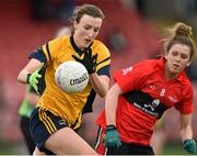20 March 2015; Lucy Collins, DCU, in action against Maire O'Callaghan, UCC. O'Connor Cup Ladies Football, Semi-Final, UCC v DCU. Cork IT, Bishopstown, Cork. Picture credit: Matt Browne / SPORTSFILE