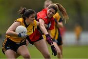 20 March 2015; Amy Bell, DCU, in action against Katie O'De, UCC. O'Connor Cup Ladies Football, Semi-Final, UCC v DCU. Cork IT, Bishopstown, Cork. Picture credit: Matt Browne / SPORTSFILE