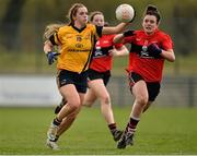 20 March 2015; Lorraine O'Shea, DCU, in action against Doireann O'Sullivan, UCC. O'Connor Cup Ladies Football, Semi-Final, UCC v DCU. Cork IT, Bishopstown, Cork. Picture credit: Matt Browne / SPORTSFILE