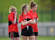 20 March 2015; UCC players Julie Dennehy, centre, with Vera Foley, left, and Maire O'Callaghan, right, after the game. O'Connor Cup Ladies Football, Semi-Final, UCC v DCU. Cork IT, Bishopstown, Cork. Picture credit: Matt Browne / SPORTSFILE
