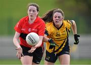 20 March 2015; Aine O'Sullivan, UCC, in action against Siobhan Woods, DCU. O'Connor Cup Ladies Football, Semi-Final, UCC v DCU. Cork IT, Bishopstown, Cork. Picture credit: Matt Browne / SPORTSFILE