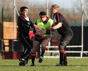6 February 2008; Ulster's Brynn Cunningham is tackled by team-mates Kieran Campbell and Thomas Anderson during squad training. Ulster rugby squad training, Newforge, Belfast, Co. Antrim. Picture credit; Oliver McVeigh / SPORTSFILE