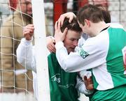 15 March 2008; Cliftonville's Mark Holland is congratulated by team-mate John Martin, right, after scoring his side's goal. Carnegie Premier League, Larne v Cliftonville, Inver Park, Larne, Co. Antrim. Picture credit; Peter Morrison / SPORTSFILE
