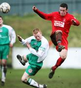 15 March 2008; George McMullan, Cliftonville, in action against Paul Hamilton, Larne. Carnegie Premier League, Larne v Cliftonville, Inver Park, Larne, Co. Antrim. Picture credit; Peter Morrison / SPORTSFILE