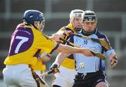 16 March 2008; Dublin's Stuart Mullen is tackled by Wexford's Ciaran Kenny and Diarmuid Lyng, 17. Allianz National Hurling League, Division 1A, Round 4, Wexford v Dublin, Wexford Park, Wexford. Picture credit; Matt Browne / SPORTSFILE