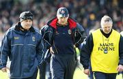 16 March 2008; Roscommon manager John Maughan, centre, with selectors Gerry Fitzmaurice, left, and Eamon McManus leaving the pitch after the first half. Allianz National Football League, Division 2, Round 4, Armagh v Roscommon, St Oliver Plunkett Park, Crossmaglen, Co. Armagh. Picture credit; Oliver McVeigh / SPORTSFILE
