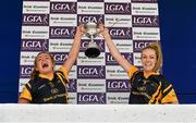21 March 2015 DCU captain Fiona O'Sullivan, from Beara, Co. Cork, right, and Niamh Lister, from Simonstown, Co. Meath, lift the Lynch Cup after their victory over DIT. Lynch Cup Ladies Football Final, Dublin Institute of Technology v Dublin City University, Cork IT, Bishopstown, Cork. Picture credit: Diarmuid Greene / SPORTSFILE