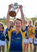 21 March 2015; St Patrick's College Drumcondra captain Niamh Kelly, from Moy Davitts, Co. Mayo, lifts the Donaghy Cup after victory over Liverpool Hope University, Donaghy Cup Ladies Football Final, St Patrick's College Drumcondra v Liverpool Hope University. Cork IT, Bishopstown, Cork. Picture credit: Diarmuid Greene / SPORTSFILE