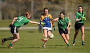21 March 2015; St Patrick's College Drumcondra captain and Player of the Match Niamh Kelly, from Moy Davitts, Co. Mayo, in action against Nicole Furey Kane, from St Brigid's Chicago, left, and Vanessa Doyle, from Killeeshil, Co. Tyrone, Liverpool Hope University. Donaghy Cup Ladies Football Final, St Patrick's College Drumcondra v Liverpool Hope University. Cork IT, Bishopstown, Cork. Picture credit: Diarmuid Greene / SPORTSFILE